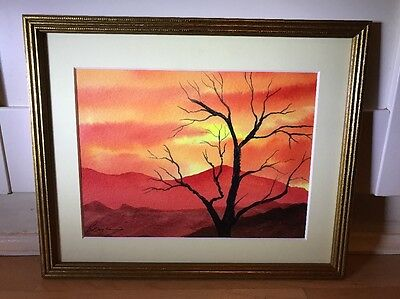 Beautiful Signed Watercolour Painting Of Landscape In Gold Frame