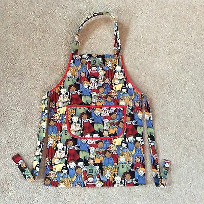 Childs Pretty Happy Children Faces Cooking Painting Fabric Apron  Approx Age 4-6