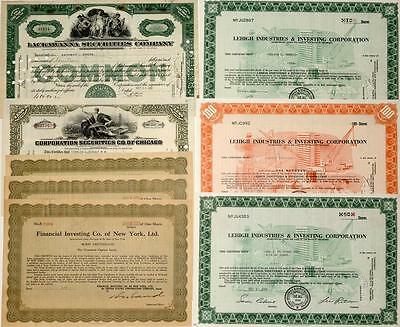 Securities & Investment Company Stock Certificates-Great Depression