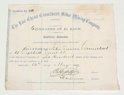 Last Chance Consolidated Silver Mining Company ~ 1884 stock certificate No. 648