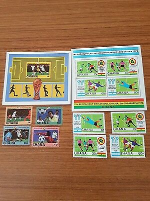 Ghana World Cup Stamps 2 Sets Argentina 1978 , Germany 1982 .