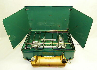 EARLY EATON'S OF CANADA TWO BURNER CAMP STOVE by RINNAI Use Coleman Lantern Fuel