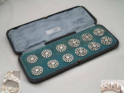 RARE SET of 12 VICTORIAN HM STERLING SILVER BUTTONS 1900