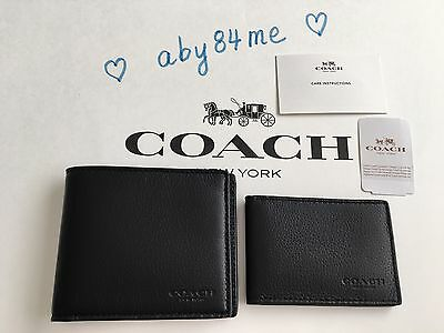*NWT* Coach Men's Compact ID Wallet in Sport Calf Leather F74991 Black