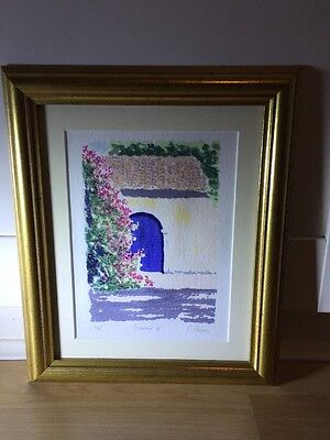 Beautiful Signed Watercolour Painting Of Barn In Gold Frame