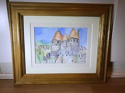 Lovely Signed Watercolour Painting Of Chateau Scene In Wood Frame