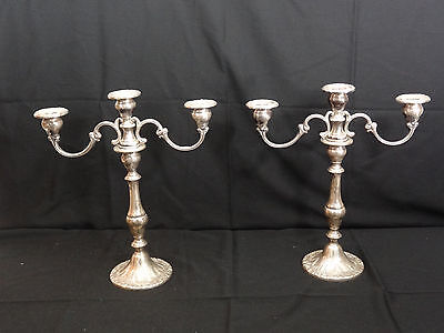 Gorham Sterling Chantilly 3 Light Candleabras Set w/ Box & Tags Weighted 750