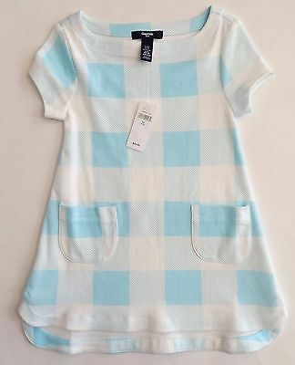 new gap kids white blue plaid dress girls size extra small 4 5