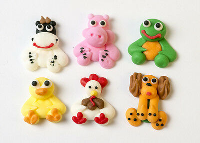 12 x Edible Farm Animals Cake Decoration Mini Cupcake Toppers 6 Animals