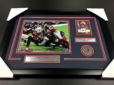 James White Gw Td Autographed Card Auto With Framed 8X10 Photo Super Bowl Li