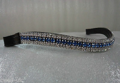 BLING!* Designer Sparkly Leather Browband*5-Row Crystals*BLUE/PERAL & CLEAR PONY