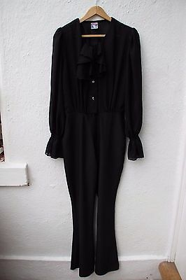 True vintage jumpsuit black 90s does 70s style flares sheer frill disco