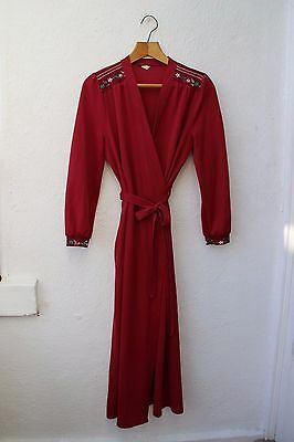 vintage dressing gown robe floral embroidered dark red 1960s long sleeved