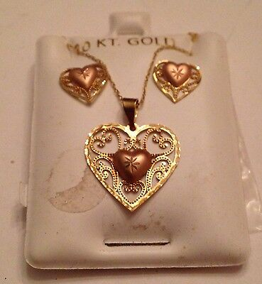 Pink and Yellow 10 Kt. Gold Heart Necklace and Earrings Set