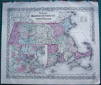 1855 Large Antique Map-Colton- Massachusetts And Rhode Island