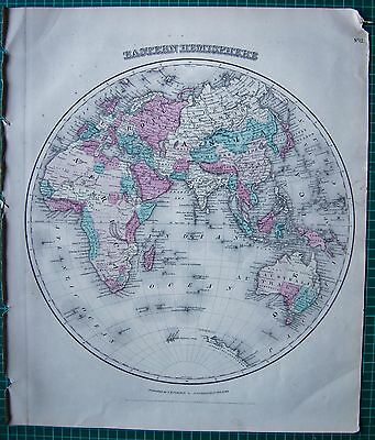 1855 Large Antique Map-Colton- Eastern Hemisphere And Northern Polar Regions