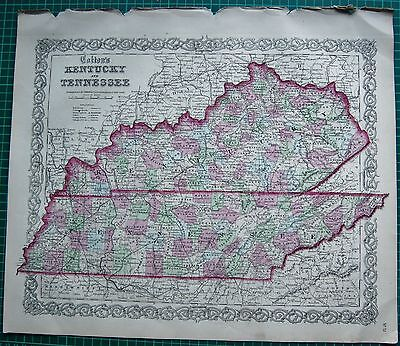 1855 Large Antique Map-Colton- Kentucky And Tennessee