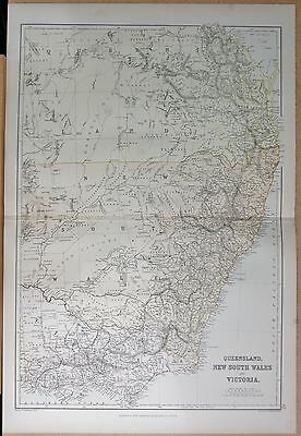 1882 Large Antique Map - Australia , Queensland New South Wales Victoria
