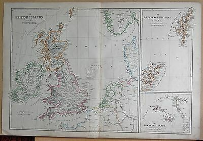 1860  Large Antique Map - The British Islands And The North Sea, Orkney, Shetlan