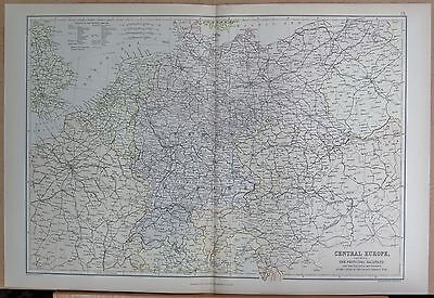 1882 Large Antique Map - Central Europe With Principal Railways