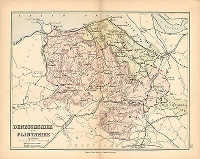 1877 Antique County Map- Denbighshire And Flintshire,st Asaph,wrexham,mold,llanw