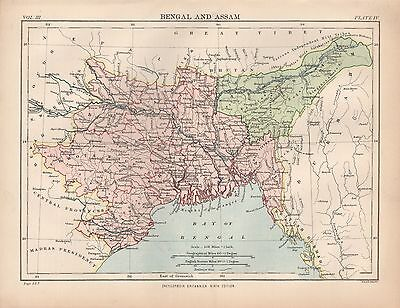1880 ca ANTIQUE MAP-INDIA-BENGAL AND ASSAM