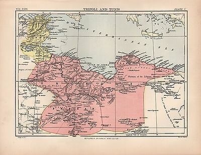 1880 ca ANTIQUE MAP-AFRICA, TRIPOLI AND TUNIS