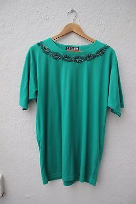 vintage t-shirt top 1980s green beaded large