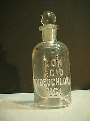 1800's  Reagent Con Acid Hydrochloric Chemical Lab Pharmacy Apothecary  Bottle