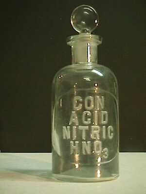 1800's Con Acid Nitric Reagent Chemical Lab Pharmacy Apothecary Poison Bottle