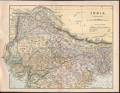 1900 Ca ANTIQUE MAP- INDIA - NORTHERN PART