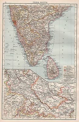 1896  Large Antique  Map : India South With North West Provinces