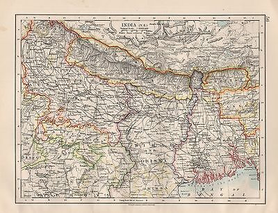 1920 Vintage Map- India North East