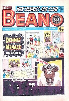 BEANO - 2nd APRIL 1977 (31 March - 6 Apr)..RARE 40th BIRTHDAY GIFT !! VG+ beezer
