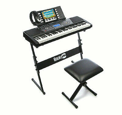 Musical Keyboard With Stand, Stool, Headphone 61 Keys Instrument Digital Piano