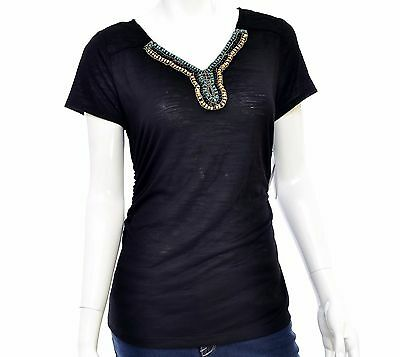 AGB Women's Beaded V-Neck Short Sleeve Ruched T-Shirt Size M