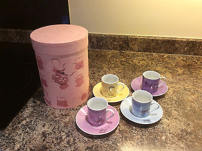 4 x EXPRESSO CUPS & SAUCERS - BOXED - NEW