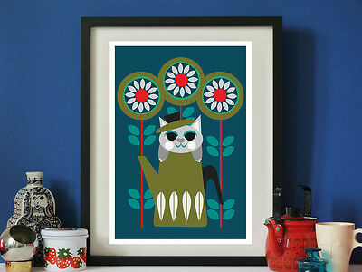 Vintage inspired Coffee cat A3 print Vintage retro Cathrineholm feat