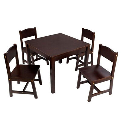 KidKraft Farmhouse Table & 4 Chairs Set, Espresso - 21453