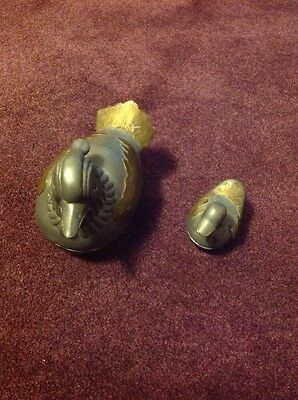 """Pair Vintage Chinese  Pewter/Brass Duck Trinket Boxes - 4""""/ And 2.5"""" High"""