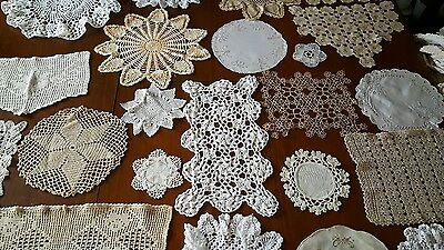 Vintage Doilies Hand Crocheted Huge Lot of 23