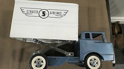 Structo Airlines Truck With Scissor Lift 1960's Vintage Tin Toy