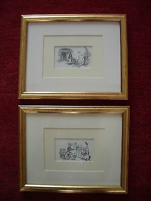 2 Winnie The Pooh prints etchings mounted in a guilt frame in VGC