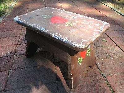 Vintage Sweetheart Folk Art Foot Stool Step Primitive Country Farm Wood Painted