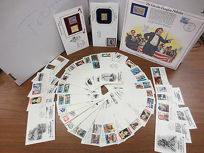 US Postal Stamp Collection 1st editions 22K Gold replicas MORE NICE LOT 80's 90'