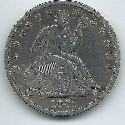 1861 Seated Liberty Silver Half Dollar  and free shipping