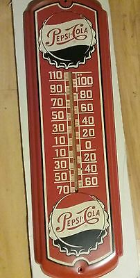 Vintage Pepsi Sign Metal Thermometer 27 Inch Great Colors Marked 43