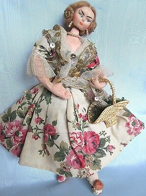 """VTG Roldan Klumpe Cloth Wired Fabric Doll Jointed Head/Neck 9.5"""" Spain"""