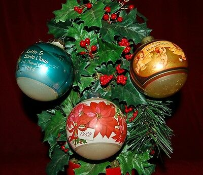 1980's  Vintage Ornaments  Lot Of 3 Pieces Unresearched As Found