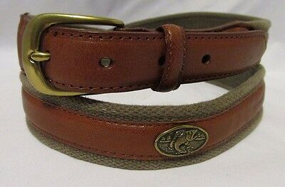 Brown Leather and Khaki Cotton Belt With Fish Medallion Accents - Mens Size 42